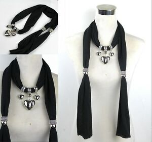 New Woman's Ladies Beautiful Jewelry Scarf with  heart pendant