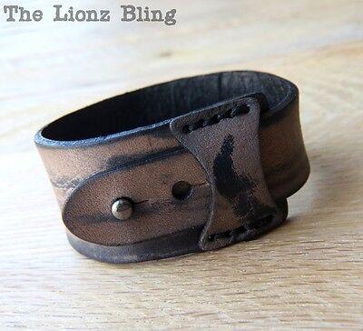 Distressed Leather Wrap Bracelet (Urban Retro Distressed Light Brown Tapered Genuine Leather Wrap Bracelet )