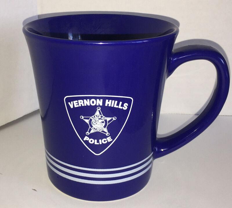 Police Department Vernon Hills Cobalt Blue Coffee Mug Cup EUC State Of Illinois