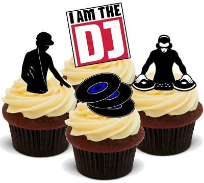 DJ Mix - 12 Edible Stand Up Premium Wafer Card Cake Toppers (Edible Card)