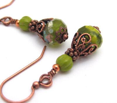 Copper BEADED EARRINGS GREEN MIX CZECH GLASS Boho Bohemian Victorian Dangle Gift