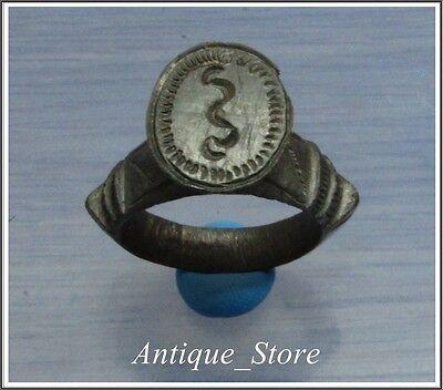 ** GLYCON **Ancient Bronze Greek LEGIONARY Ring  engraved ** SNAKE ** HUGE **