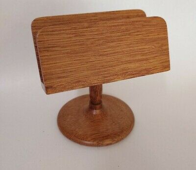 Vintage Oak Hardwood Hand Crafted Carved Business Card Holder Display F. Nestel