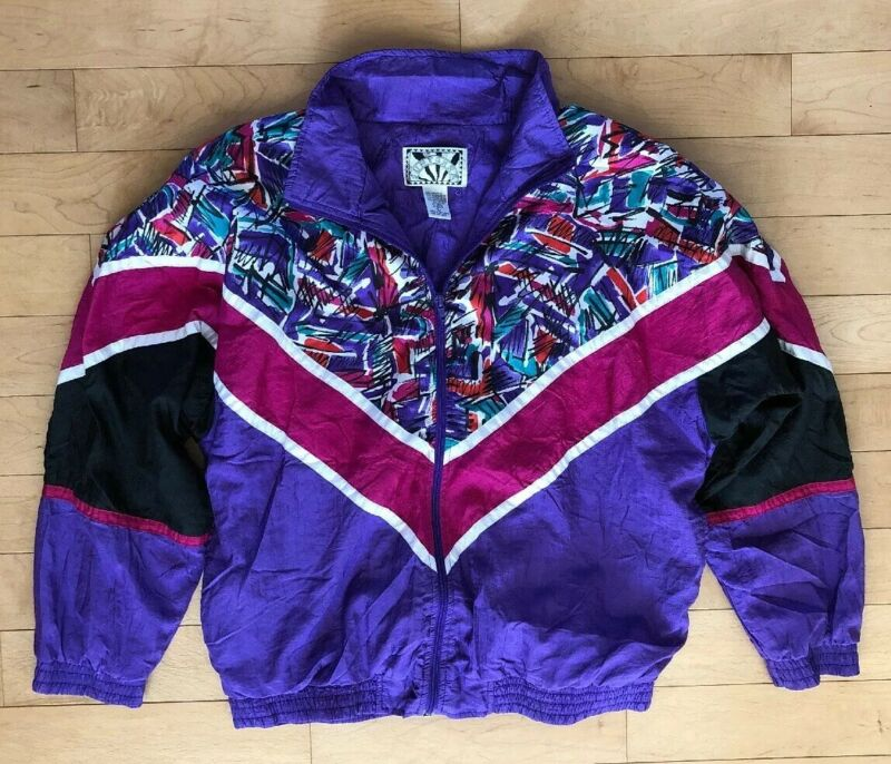 Vtg 80's Bright Colored Pinks Purples Track Suit Jacket Lightweight Womans Sz L