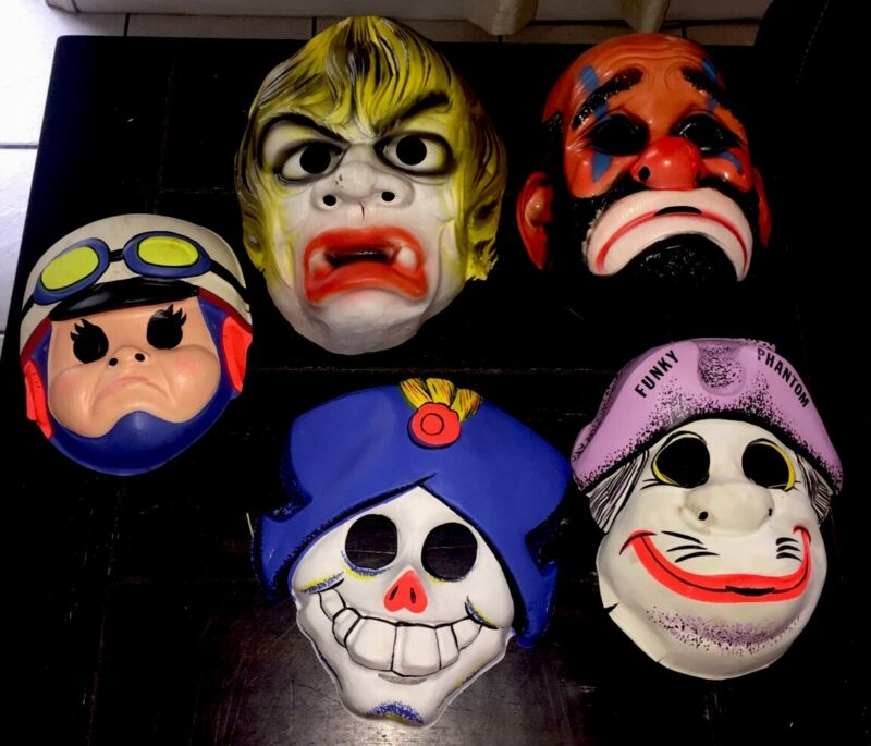 Ben Cooper/Collegeville Masks Speed Racer Funky Phantom Hobo Ghoul Ghost (5) Lot