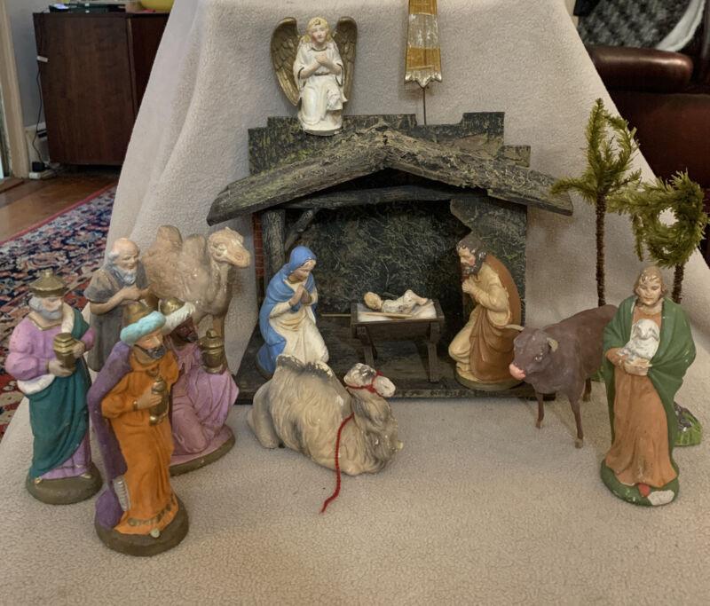 Antique Nativity Creche Set 19 pc Germany Christmas Palm Trees Animals
