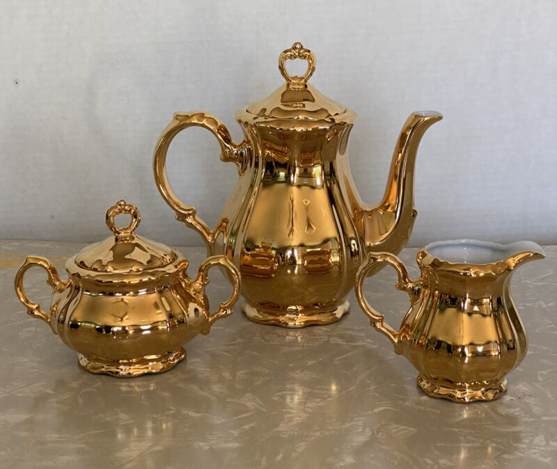Antique Vintage Gold Bareuther Bavaria 5 pc Tea Set Teapot Sugar Creamer