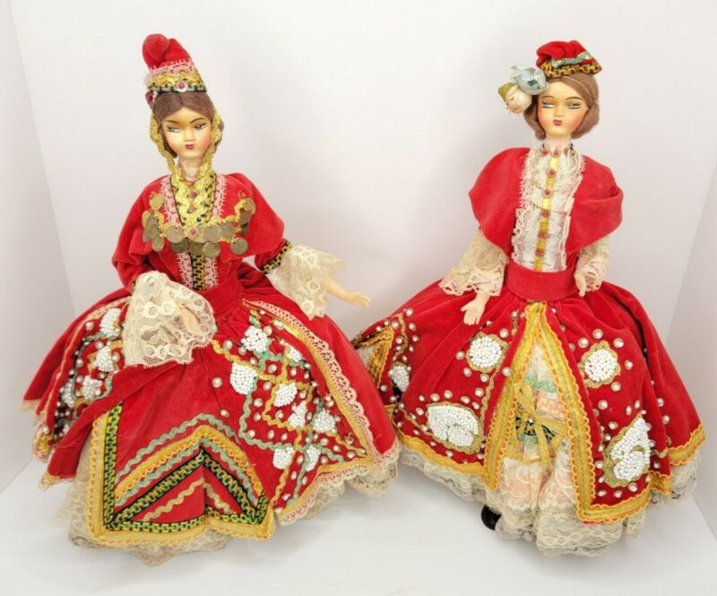 """Pair of Vintage Traditional Greek Dolls Handmade Beaded Outfits, 16"""" dolls"""