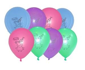 Peppa Pig Latex Balloons (x 8) Multicoloured birthday party balloons 25 cm