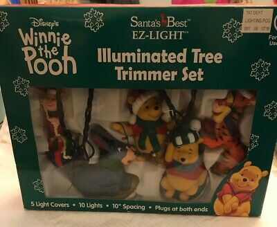 Disney Winnie the Pooh Christmas Tree Trimmer Light Set Santas Best EZ Light