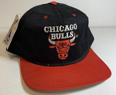 Vtg Chicago Bulls Nwt Snapback Hat NBA Red Black