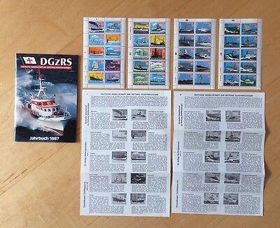 DGzRS Jahrbuch 1987, 4 Bögen à 10 Quittungsmarken sowie Sammelbögen I und IV