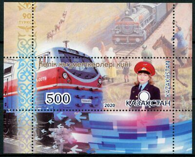 Kazakhstan 2020 MNH Trains Stamps Transport Workers Day Rail Railways 1v M/S