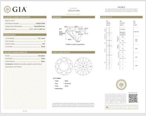 1.01 Carat Round Brilliant Cut J - SI2 GIA Diamond Halo Engagement Ring 18k Gold 5