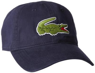 c317cb3888f NEW LACOSTE AUTHENTIC LARGE CROCODILE MEN S GABARDINE NAVY BACKSTRAP HAT CAP