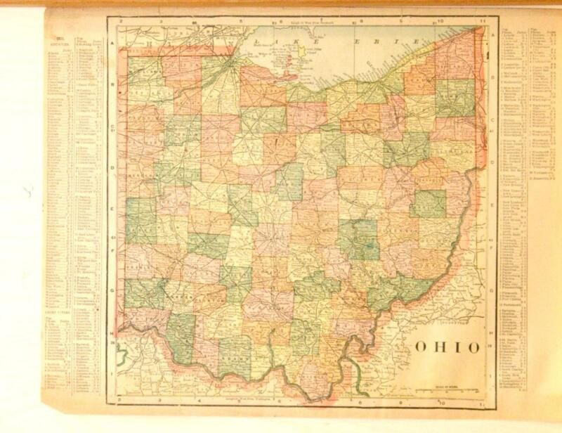 Beautiful Original 1899 Ohio Large Color Map/11x14