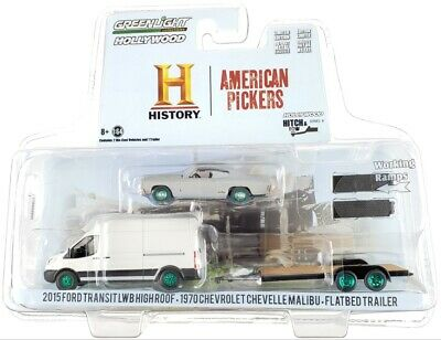 """Chase 2015 FORD LWB & 1970 CHEVY """"AMERICAN PICKERS"""" 1/64 GREENLIGHT 31100 B"""