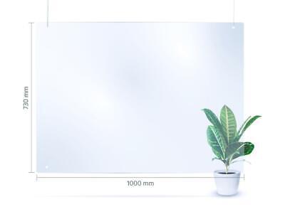 100x73 cm hängende Schutzwand - transparente Kunststoff-Barriere als Spuckschutz