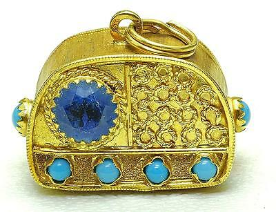 WOW Vintage 18k yellow Gold Blue & Turquoise color Stones OLD RADIO Charm 1950's