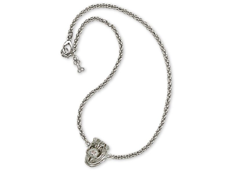 Shar Pei Necklace Jewelry Sterling Silver Handmade Dog Necklace SHP2-NK