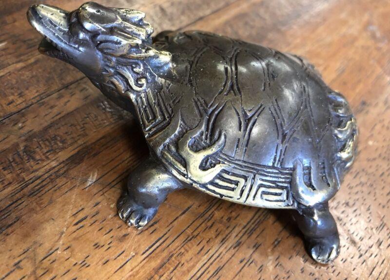 Turtle Temple Fire Tatoo Statue Vintage Patina Grade A Bronze