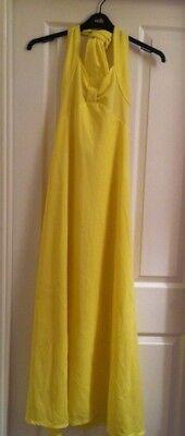 Ladies Vintage Full Length Yellow Halterneck Dress Size 10 Excellent Condition