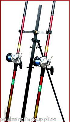 2 X15ft Mitchell Catch Surf Rods Left Hand Multiplier Reels Tripod Sea Fishing