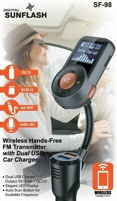 Digital Sunflash Wireless Hands-Free FM Transmitter w/ Dual USB Car Charger SF98 Digital Fm Transmitter Charger