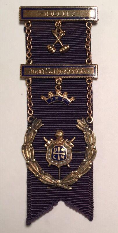 DeMolay PMC Fidelity Free Mason 10K Gold & Enamel Seed Pearl Medal