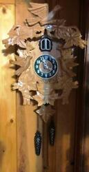 KAISER QUARTZ PENDULUM CUCKOO CLOCK - CARVED WOOD, BIRDS, LEAVES, FOREST ~ EUC