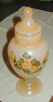 VINTAGE HAND PAINTED FROSTED GLASS LIDDED JAR w ROSES, ARTIST SIGNED CAROLYN