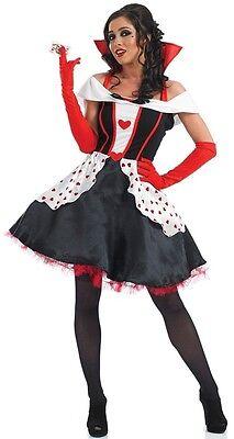 Damen Längere Länge Königin der Herzen Kostüm Kleid Outfit 8-30 - Damen Königin Der Herzen Kostüm
