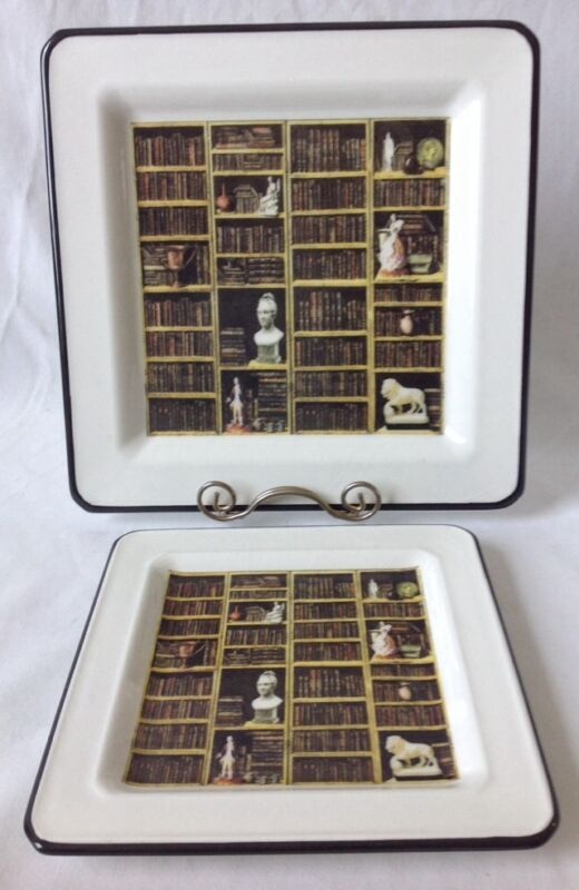 Brunelli Square Salad and Dinner Plates Classic Italian Library Books Sculptures