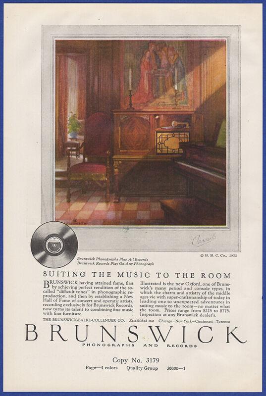 Vintage 1922 BRUNSWICK Phonograph Records Art Decor Ephemera Print Ad 20