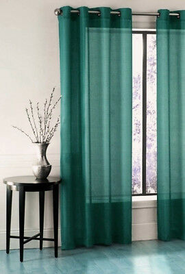 HUNTER GREEN 1 SINGLE PC VOILE SHEER WINDOW DRESSING CURTAIN GROMMET PANEL DRAPE