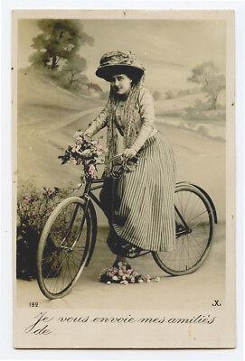 c 1910 Transportation Pretty LADY on BICYCLE Bike French photo postcard