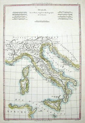 ITALY with MALTA, CORSICA,SARDINIA,CROATIA  R.Bonne original  antique map  c1770