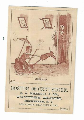 Old Trade Card Boston 99 Cent Store McKenney Rochester NY Mercantile Wonders