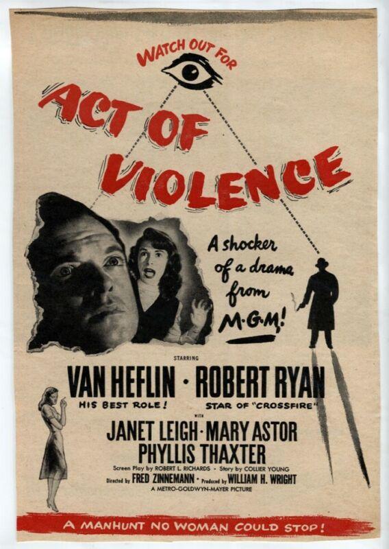 "VTG Movie AD ""ACT of VIOLENCE"" 1949 Van Heflin Janet Leigh Robert Ryan Film Noir"