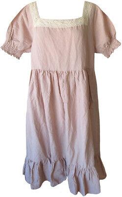 Les Ours Rose Pink Linen Honorine Dress Lace Trim Romantic Vintage Style
