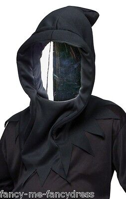 Mens Black Mirrored Death Ninja Mask Halloween Fancy Dress Costume Accessory](Mirror Mask Halloween Costume)