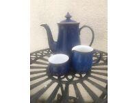 Denby Blue Imperial coffee pot, cream jug, and sugar bowl