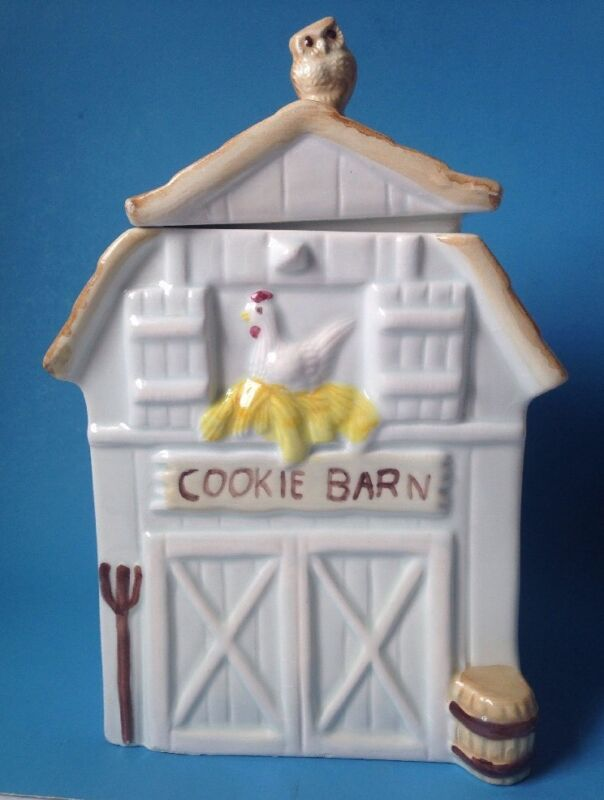 Cookie Barn Cookie Jar with Owl on Lid Made In Brazil