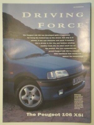 PEUGEOT 106 XSi orig 1992 1993 UK Mkt Publicity Brochure - with GQ Magazine