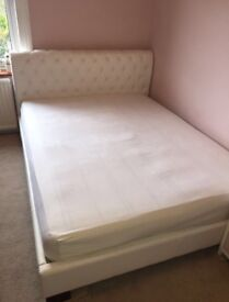 King size white faux leather bed frame