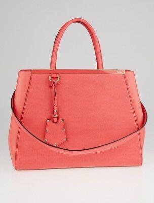 FENDI Pink Leather MEDIUM 2JOURS Elite Tote Satchel Hand Shoulder Bag