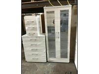 BRAND NEW ASSEMBLED BEDROOM FURNITURE SET INCLUDES WARDROBE, CHEST OF DRAWERS AND BEDSIDE ALL COLORS