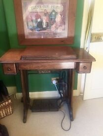 SINGER TABLE WITH SEWING MACHINE