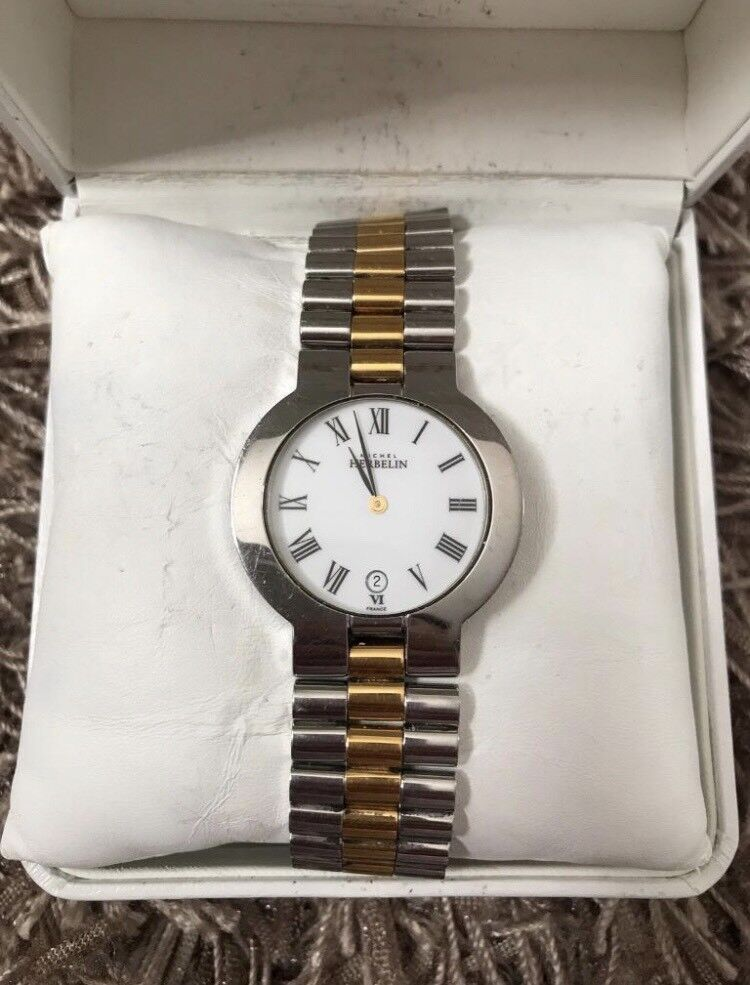MICHEL HERBELIN MENS TWO TONE STAINLESS STEEL SILVER GOLD STRAP