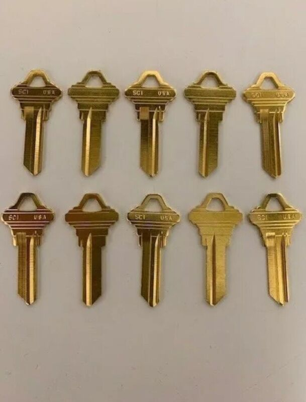 **LOT OF TEN LOCKSMITH SC1 KEY BLANKS FITS SCHLAGE SOLID BRASS MADE IN USA**